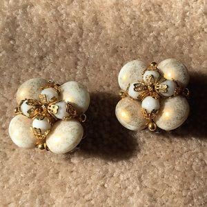 Vintage beaded clip-on earrings.
